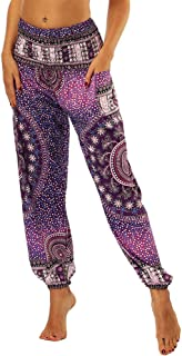 Women's Hippie Harem Yoga Pants with Pockets High Waist Trousers Summer Beach