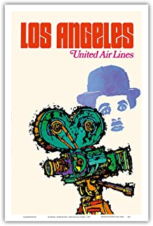 Pacifica Island Art Los Angeles - United Airlines - Charlie Chaplin with Movie Camera - Vintage Airline Travel Poster by Jebavy c.1967 - Master Art Print - 12in x 18in