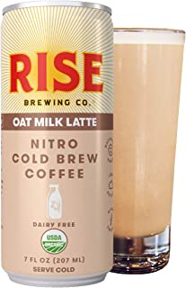 RISE Brewing Co.   Oat Milk Nitro Cold Brew Latte (4 7 fl. oz. Cans) - USDA Organic, Non-GMO   Vegan & Dairy Free   Clean Energy, Low Acidity, Slightly Sweet & Refreshingly Smooth   130 Calories
