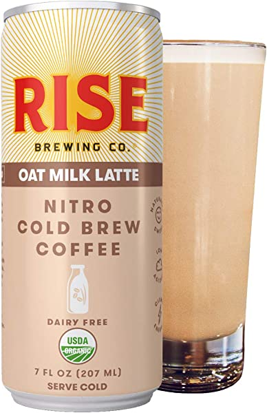 RISE Brewing Co Oat Milk Nitro Cold Brew Latte 12 7 Fl Oz Cans USDA Organic Non GMO Vegan Dairy Free Clean Energy Low Acidity Slightly Sweet Refreshingly Smooth 130 Calories