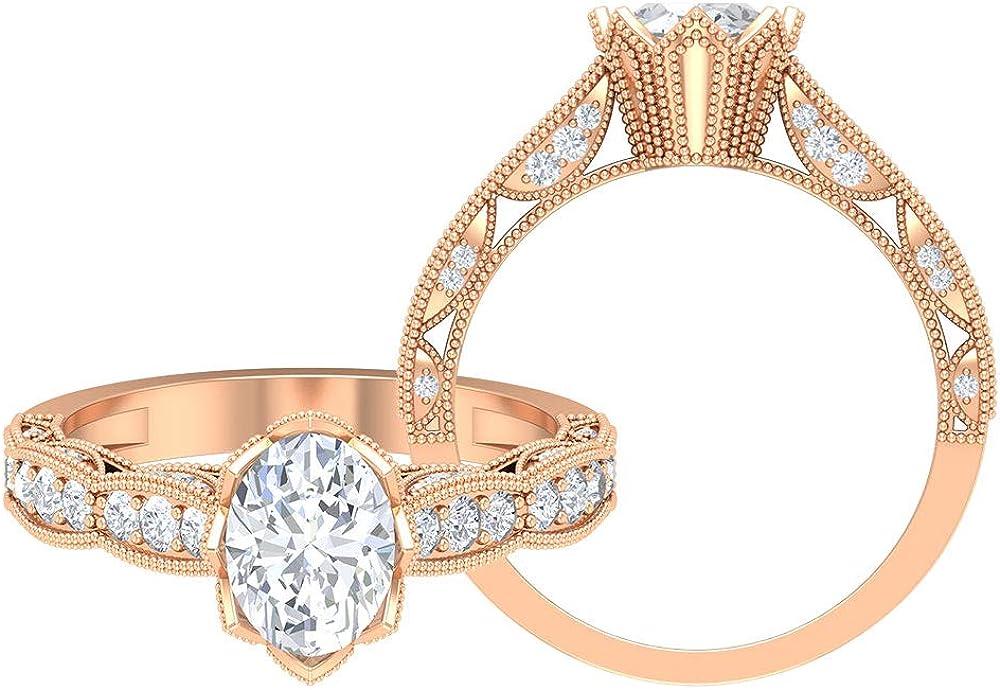 8X6 MM Oval Shape Moissanite Ring, 1.88 CT D-VSSI Moissanite Solitaire Ring, Vintage Engagement Ring, Gold Milgrain Side Stone Ring, 14K Gold