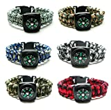 Compass Paracord Bracelet Set for Men, Teens 6 Pack - Survival Emergency Tactical Bracelets Braided with 550 lbs Parachute Cord and Mini Compasses - Men's Outdoor Accessories - Camp Party Favors
