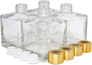 Feel Fragrance ™'s Large Square Glass Diffuser Bottles Set of 4 - 3.7