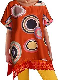 Remanlly Women Boho Summer Prints Short Sleeve Dress Beach Maxi Dress lace Loose beach dress T Shirt Dresses Daily Skirt tee with Pockets