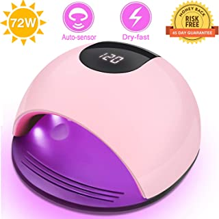 72W LED UV Nail Lamp,iUpcoot UV Gel Nail Lamp Gel Nail Light Pro Nail Polish Dryer 4 Timers Setting & Auto Sensor Nail Dryer Curing Lamp Fast Dry Nail UV Light Detachable Gel UV Light Salon & Home Use