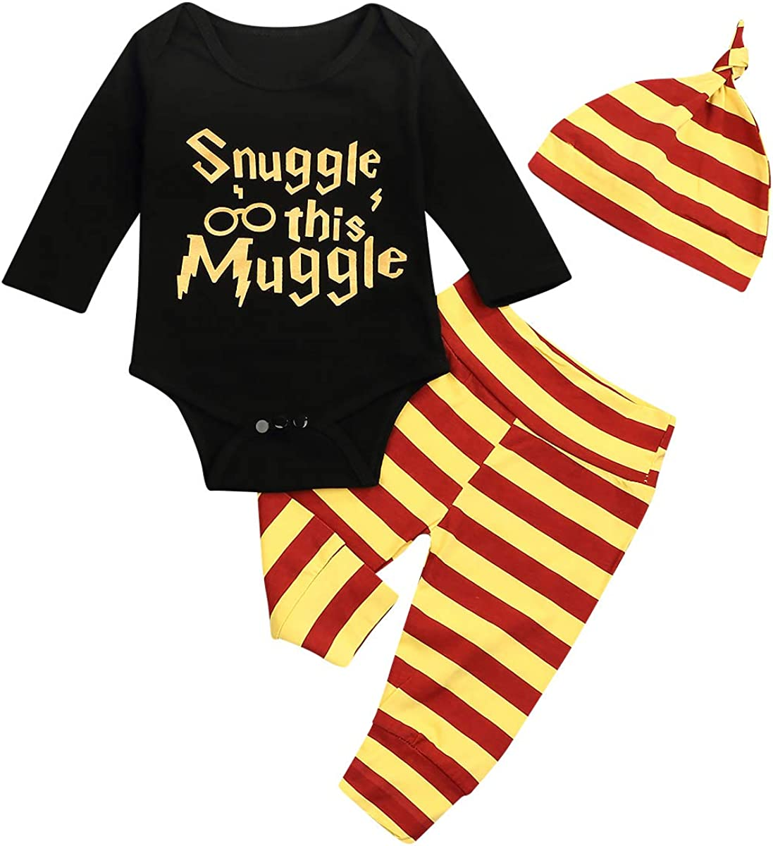 Baby Boy Girl Kleidung Kuscheln Diese Muggel Langarm 3PCS Outfits Strampler Hosenhut Langarm Anzug