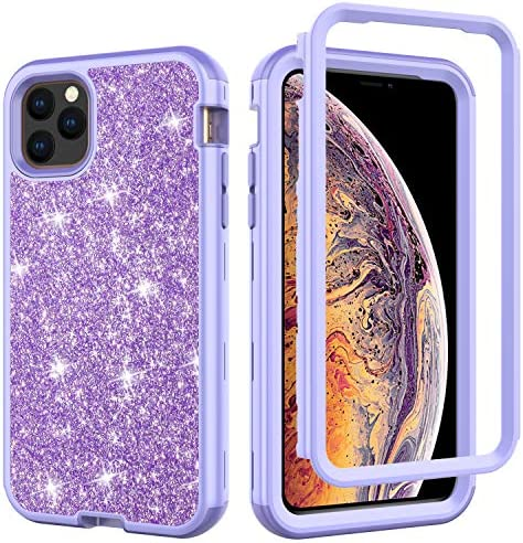 Kit Me Out World Rugged Glitter Series Case Designed for iPhone 11 Pro Max 6.5 Inch Case Drop Proof, Drop Protection Full Body Rugged Bling Case, 3-Layer Protective Durable Shockproof (Light Purple)