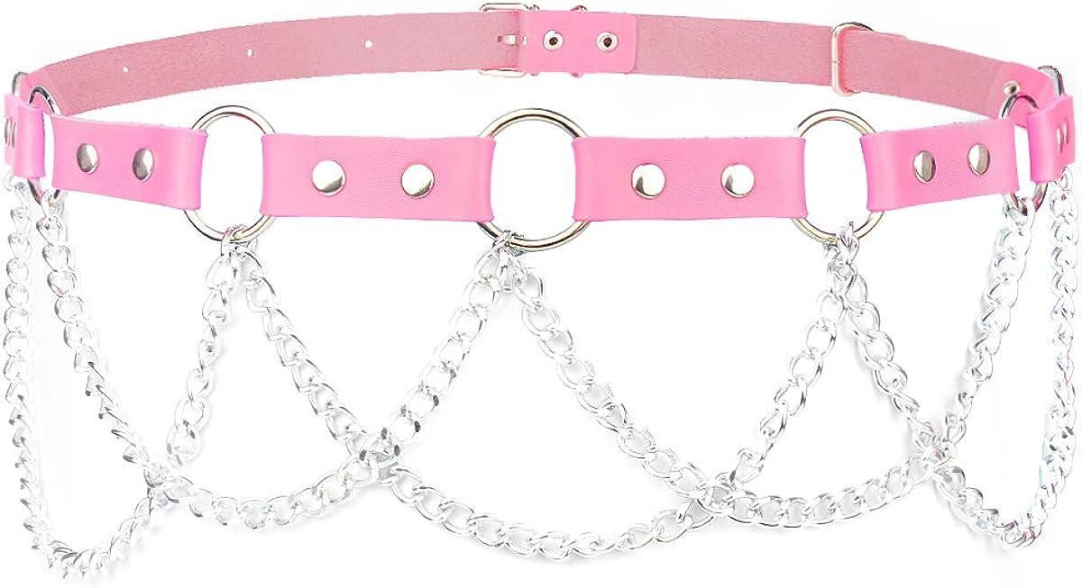 Limited Elegant time trial price Wyenliz Womens Waist Chain O-ring Belts Gothic Leather Faux Adju