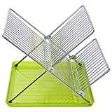 Sauvic ESCURREPLATOS Plegable, Acero Inoxidable y Verde, 36.5x26x22 cm