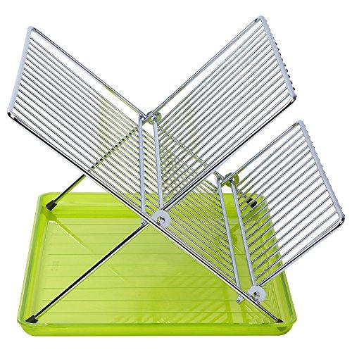 Sauvic ESCURREPLATOS Plegable Cromado Verde, Metal, Acero, 36.5x26x22 cm