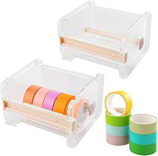 Washi Tape Dispenser Holder(2PCS Clear), Acrylic Tape Dispenser Cutter, Roll Tape Holder Organizer, Perfect for Cutter Mas...