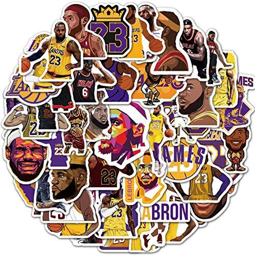 WYDML Star Lebron James Pegatinas Lakers Baloncesto Graffiti Casco de Coche eléctrico Impermeable Maleta Pegatinas