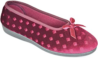 DINZIO Ladies Velour Full Slipper with Embossed Diamond Pattern and Colour Matched Ribbon