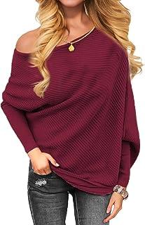 VOIANLIMO Women's Off Shoulder Knit Jumper Long Sleeve...