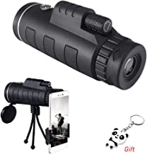Monocular Telescope, 40x60 High Power Monocular with Smartphone Holder and Tripod,Single Hand Focus for Outdoor, Bird Watching,Camping,Hunting,Travel