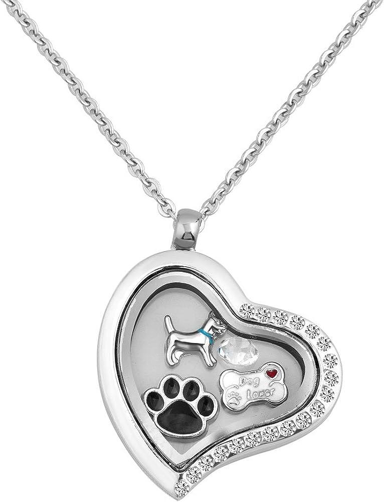 LovelyCharms Living Memory Dog Bone Pawprints Floating Charm Heart Locket Necklace Pendant