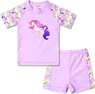 QPANCY Rash Guard for Girls Swimwear 2-Piece Mermaid Unicorn Swimsuit UPF 50+ UV