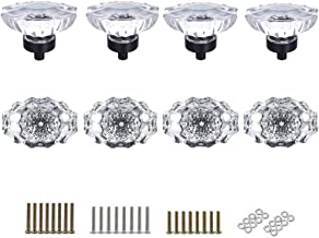 SHINY HANDLES 8 Pcs Crystal Glass Cabinet Knobs Pulls Vintage Knob Vintage Dresser Knobs Drawer Knobs,Clear,Oval Shape,3 Types Screws,Factory Supply