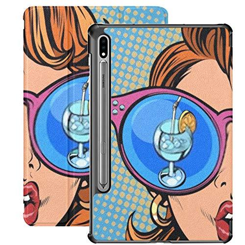 Funda para Galaxy Tab S7 Funda Delgada y Ligera con Soporte para Tableta Samsung Galaxy Tab S7 de 11 Pulgadas Sm-t870 Sm-t875 Sm-t878 2020 Release, Gafas de Sol para Mujer Cóctel Ice Lemon Reflection