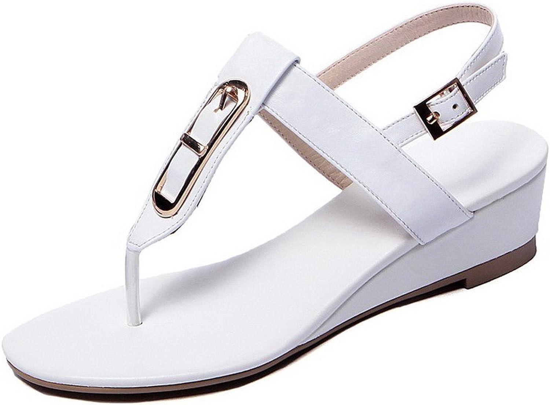 AmoonyFashion Women's Split Toe Kitten Heels Soft Material Solid Buckle Sandals