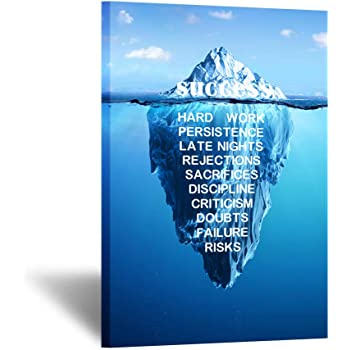 Success Quotes Motivational Poster Ice Mountain Canvas Print Office Room Decor