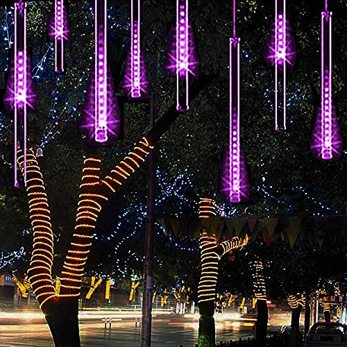 Alkbo Purple Meteor Shower Rain Lights Waterproof String for Wedding Party Christmas Xmas Decoration Tree Party Garden Xmas String Light Outdoor 8 Tube