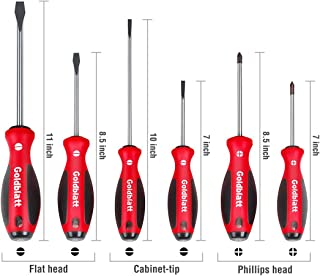 Goldblatt Screwdrivers Set, S2 Blades with Tri-lobe Handle - 6-piece Slotted and Phillips Screwdriver Kit with Non-slip Handle, for Home Repair, Craft Repairing, Improvement