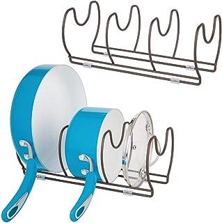 mDesign Juego de 2 soportes para sartenes, ollas y tapas – Organizador de tapas de ollas compacto para el armario de la cocina – Colgador de sartenes de metal para ahorrar espacio – color bronce