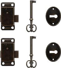 Angoily 2Pcs Retro Stijl Hangslot Lock Key Klink Sluiting Set Box Lock Key Lock Voor Meubels Houten Box Jewelry Case Trink...