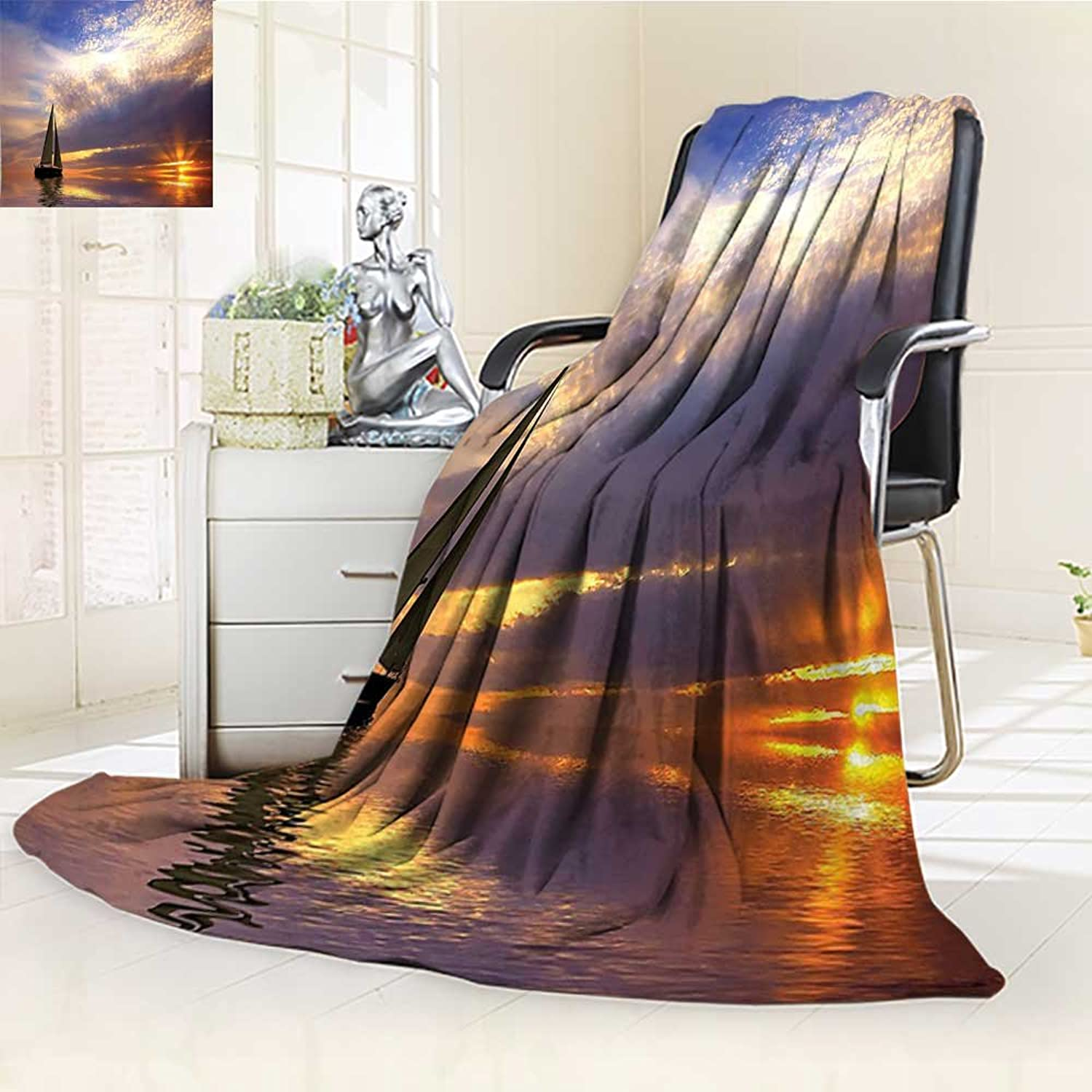 YOYI-HOME Soft Warm Cozy Throw Duplex Printed Blanket Sailboat Decor Sailing with Sunset Sunbeams On Horizon Romance Honeymoon Destination Anti-Static,2 Ply Thick,Hypoallergenic W39.5  x H59