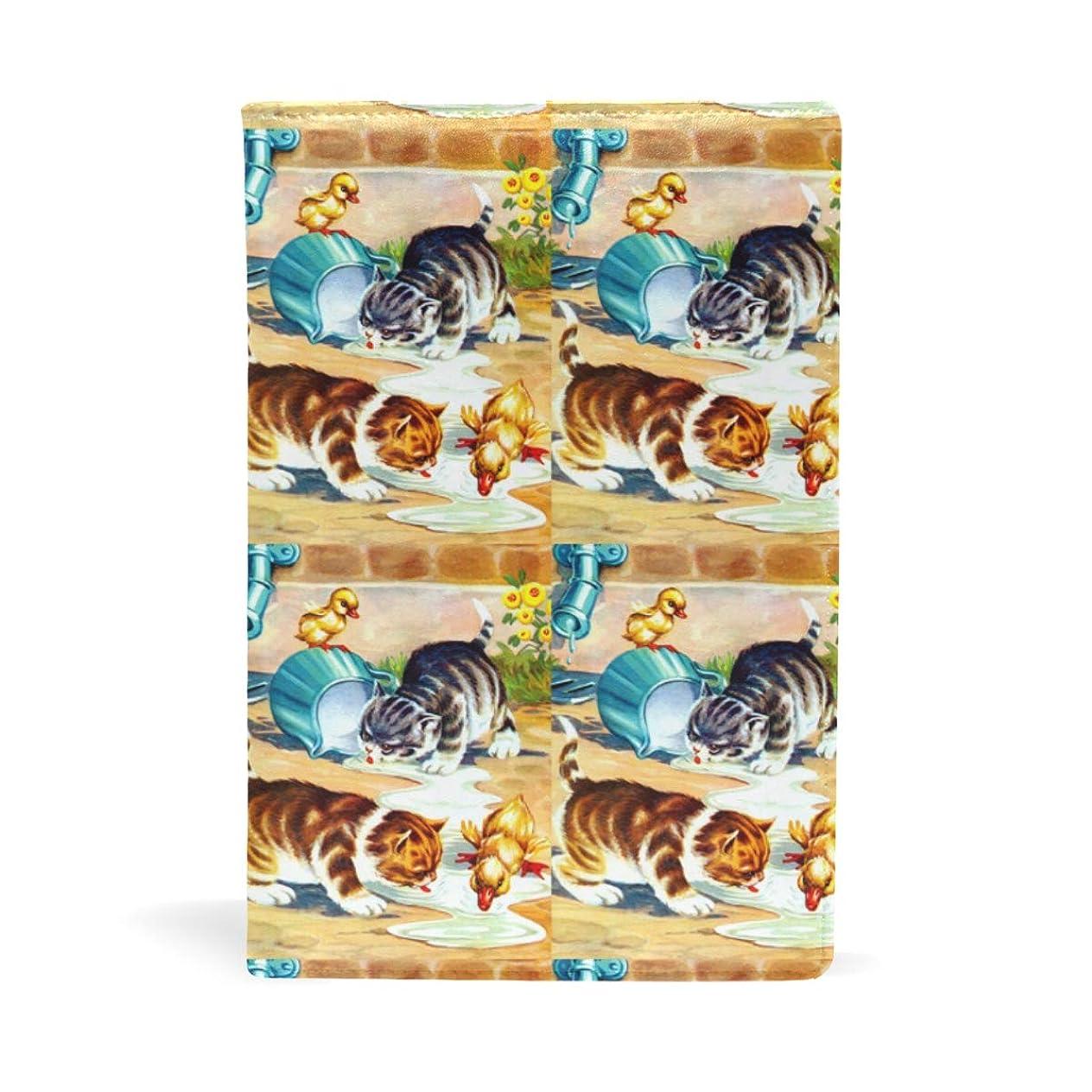 感嘆大聖堂ブル子猫とアヒル 鴨 ミルクを飲む ブックカバー 文庫 a5 皮革 おしゃれ 文庫本カバー 資料 収納入れ オフィス用品 読書 雑貨 プレゼント耐久性に優れ