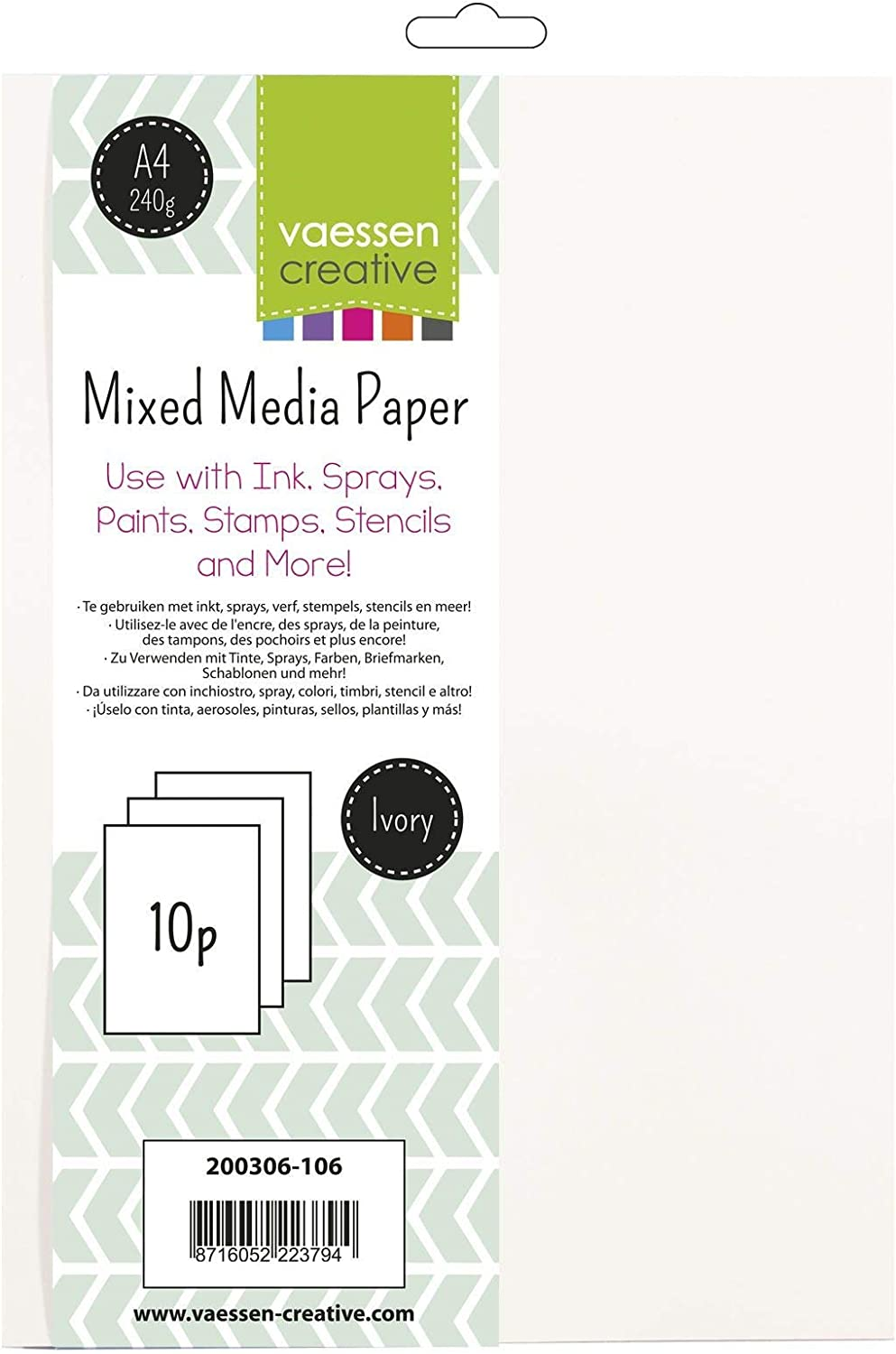 Vaessen Clearance SALE! Limited time! Creative Mixed Media Ivory A4 Paper Sheet 240 Max 70% OFF Set 10 Gra
