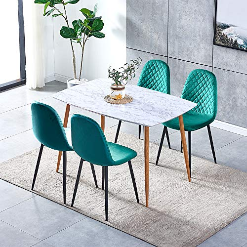 Ansley&HosHo 5 Pieces Dining Room Table and 4 Green Velvet Chairs Set, Wood Marble-like Kitchen Table with 4 Occasional Velvet Chairs Black Metal Legs for Small Dinette Apartment Space Saving