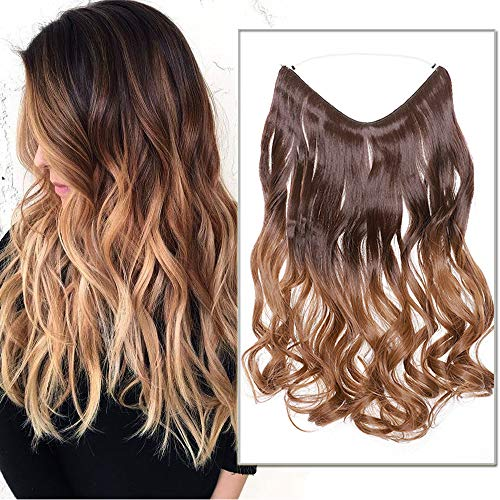 50cm-Extension con Filo Trasparente Fascia Unica Extension per Capelli Mossi Ombre One piece Wire in Hair Extension Filo Invisibile–Castano a Marrone Medio