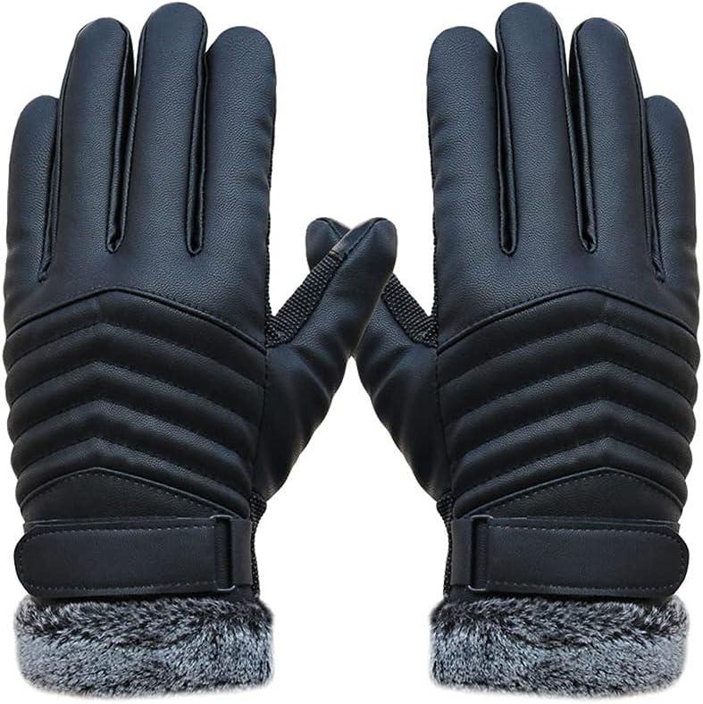 JEONSWOD Men's Windproof Gloves Leather Winter Mittens Anti Slip Screens Thermal Glove Hand Warmer Gloves Men