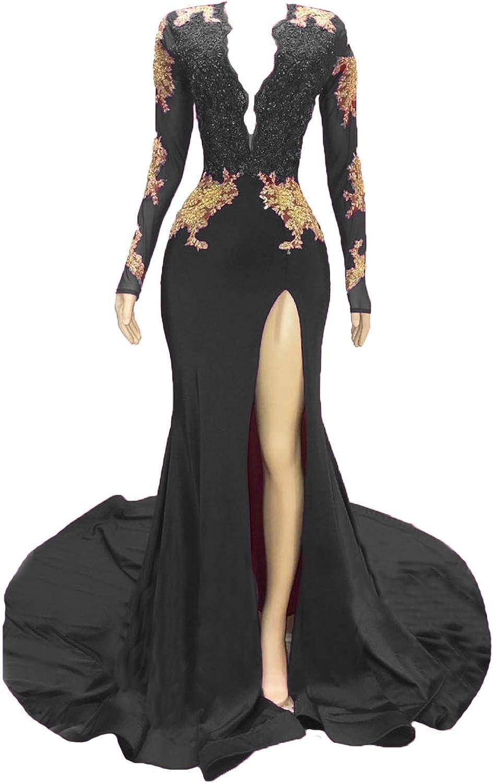 Graceprom Women's Black Long Sleeves Gold Mermaid Prom Evening Dress
