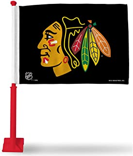 Rico Industries Chicago Blackhawks Black Flag with Red Pole Car and Auto Flag