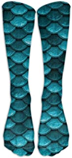 Bahama Sea Blue Mermaid Fish Scales Athletic Tube Stockings Women's Men's Classics Knee High Socks Sport Long Sock One Size 50cm