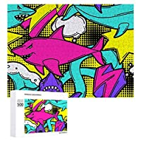 ジグソーパズル 1000ピース 木製 パズル カラフル サメ ピクチュアパズル Picture puzzle おもちゃ ウォールアート 壁飾り 壁掛け ポスター アートフレーム ギフト プレゼント 知育減圧 オフィス インテリア 50x75cm