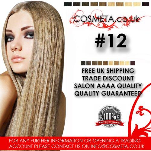 Extensions Cheveux pré-collées cosmeta 25 mèches x 50,8 cm 1 G Salon haute qualité AAAA Kératine U Tip Remy Hair (# 12)