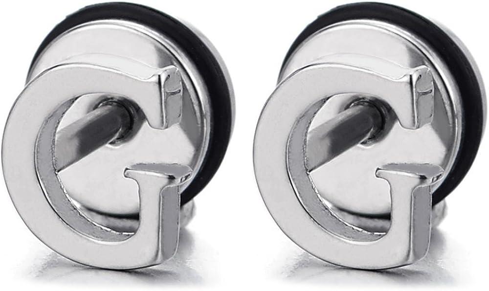 2pcs Alphabet Letter Name Initial A to Z Stud Earrings in Stainless Steel for Men Women, Screw Back