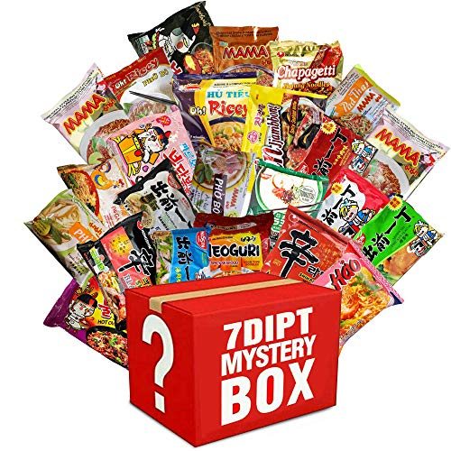 Mystery Asian Instant Ramen Variety Bundle with Spork Including -...