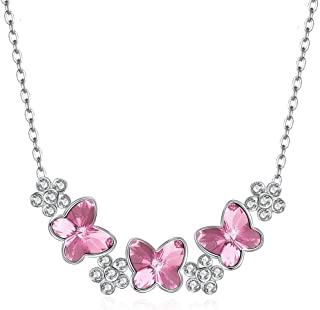 Crystal Necklace Sterling Silver S925 Butterfly Crystal Korean Necklace Female (Color : Pink) Girls Necklace (Color : Pink)