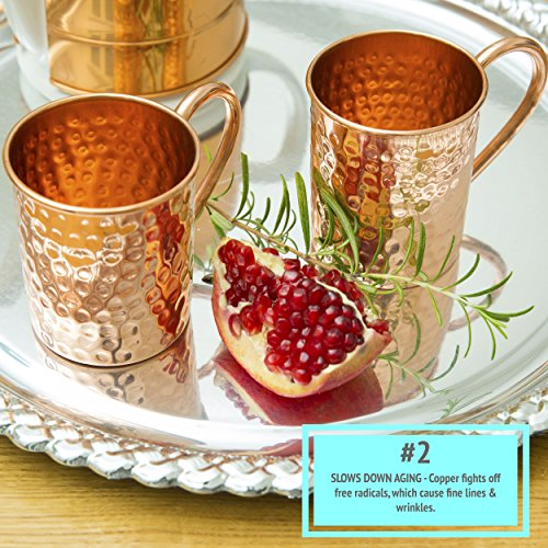 Copper Mugs Moscow Mule Set Of 4 By B.WEISS Handmade Hammered Copper Cups 100% Pure Copper +Bonus: 4 copper straws 1 shot mug and A beautiful gift box