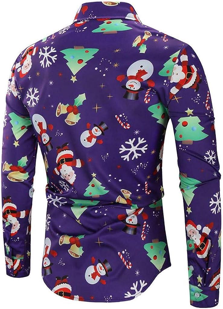 Mens Long Sleeve Dress Shirts Christmas Casual Snowflakes Santa Printed Shirt Top