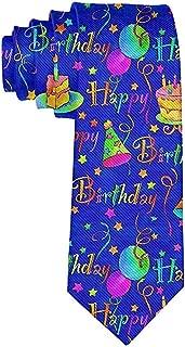 Men's Happy Birthday Blue Cake Necktie Polyester Silk Soft Business Gentleman Tie Necktie