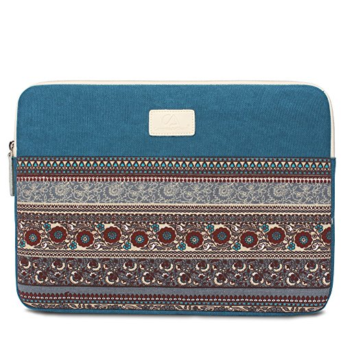 Feisman Custodia per portatile in tela impermeabile da 11 pollici, custodia per laptop sottile protettiva più resistente all acqua -(Blu)
