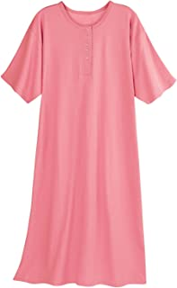 Women's Long Henley Nightshirt - Pajama Sleep Shirt