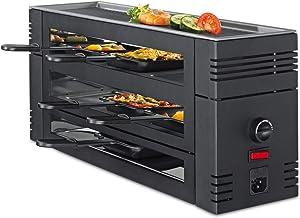 Printemps 3367710002 Pizza et raclette 6 avec plaque de grill en aluminium, noir