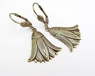 Art Deco Design Earrings Egyptian Revival Lotus Flower Antiqued Brass Dangle